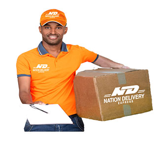 A delivery man in Nation Delivery shirt and cap carrying a box and the delivery register